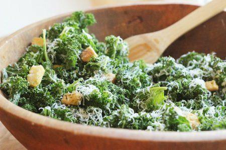 Raw Kale Caesar Salad